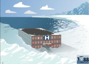 The icy artic circle is now site of a base camp where a penguin wants to prove the world wrong.